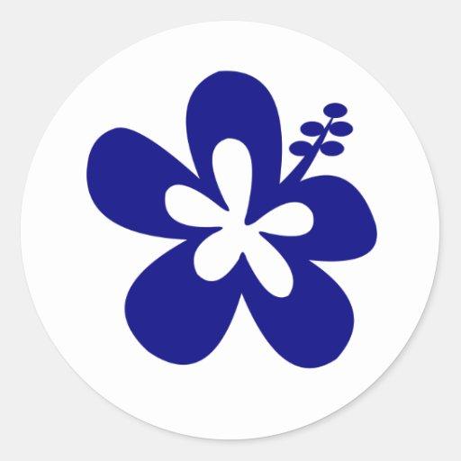 navy hibiscus aloha flower round stickers