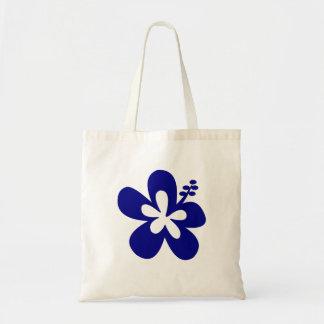 navy hibiscus aloha flower tote bag