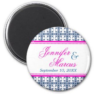 Navy hot pink filigree fancy wedding save the date refrigerator magnet