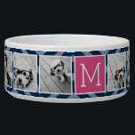 "Navy &amp; Hot Pink Instagram 5 Photo Collage Monogram Bowl<br><div class=""desc"">Background includes an optional chevron Pattern - Use five square photos to create a unique and personal gift. Or you can keep the hipster puppy and make a trendy keepsake. If you need to adjust the pictures,  click on the customize tool to make changes.</div>"