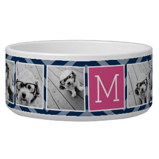 Navy & Hot Pink Instagram 5 Photo Collage Monogram Bowl