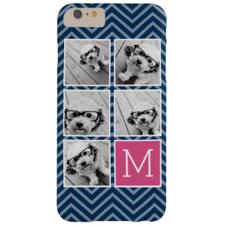Navy & Hot Pink Instagram 5 Photo Collage Monogram Barely There iPhone 6 Plus Case
