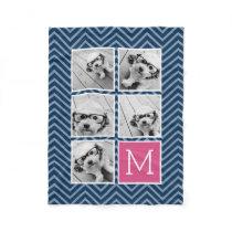Navy & Hot Pink Instagram 5 Photo Collage Monogram Fleece Blanket