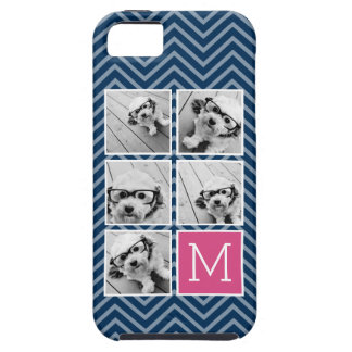 Navy & Hot Pink Instagram 5 Photo Collage Monogram iPhone SE/5/5s Case