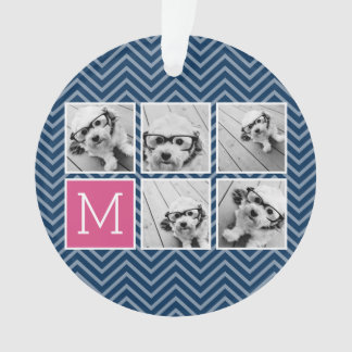 Navy & Hot Pink Instagram 5 Photo Collage Monogram Ornament