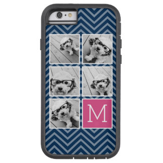Navy & Hot Pink Instagram 5 Photo Collage Monogram Tough Xtreme iPhone 6 Case