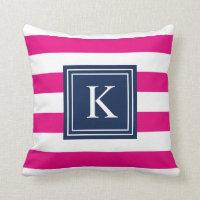 Navy & Hot Pink Monogram Striped | Throw Pillow