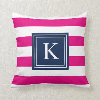 Navy U0026 Hot Pink Monogram Striped   Throw Pillow