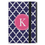 Navy Hot Pink Moroccan Pattern Monogram Cases For iPad Mini