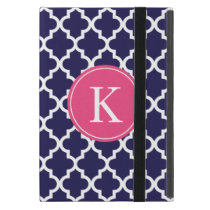 Navy Hot Pink Moroccan Pattern Monogram iPad Mini Cover