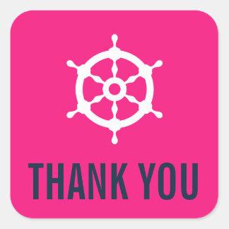 Navy & Hot Pink Nautical Wedding Thank You Sticker