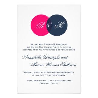Navy & Hot Pink Twin Monograms Wedding Invitation