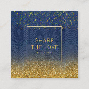 Navy Indigo Blue Feather Gold Glitter Referral Square Business Card
