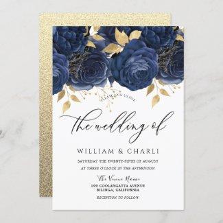 Navy Indigo Blue & Gold Floral Wedding Invitation