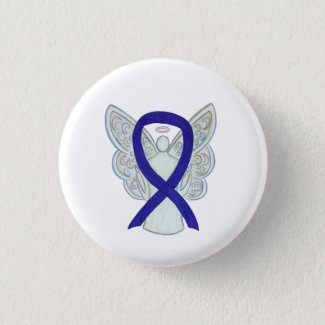 Navy, Indigo, Dark Blue Awareness Ribbon Angel Pin