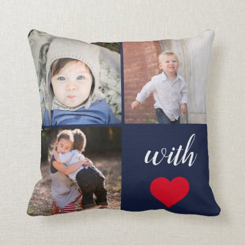 Navy Instagram Photo Collage  With Love Throw Pillow