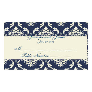 Navy Ivory Damask Wedding Table Place Card Business Cards
