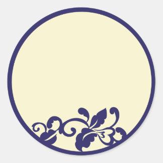 navy ivory flourish classic round sticker