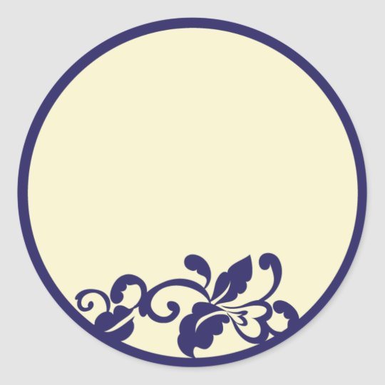 navy ivory flourish classic round sticker