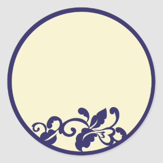 navy ivory flourish round sticker