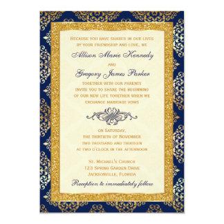 Navy, Ivory, Gold Glitter, Damask Wedding Invite
