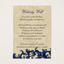 Navy ivory Vintage Flourish Wedding Business Card