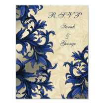 Navy ivory Vintage Flourish Wedding Card