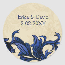 Navy ivory Vintage Flourish Wedding Classic Round Sticker