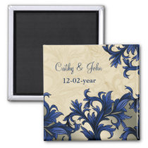 Navy ivory Vintage Flourish Wedding Magnet
