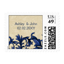 Navy ivory Vintage Flourish Wedding Postage