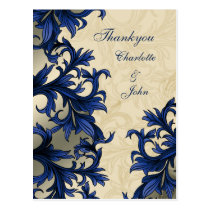 Navy ivory Vintage Flourish Wedding Postcard