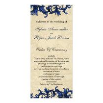 Navy ivory Vintage Flourish Wedding Rack Card