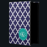 """Navy Jade Green Quatrefoil Custom Monogram iPad Air Case<br><div class=""""desc"""">Protect your phone or device in style with a simple, elegant, modern and trendy Moroccan quatrefoil, tile, lattice or trellis pattern design iPad Air case or cover that is custom monogrammed with your first, middle and last initials in a preppy font. Navy Blue and white background contrasted with a Jade...</div>"""