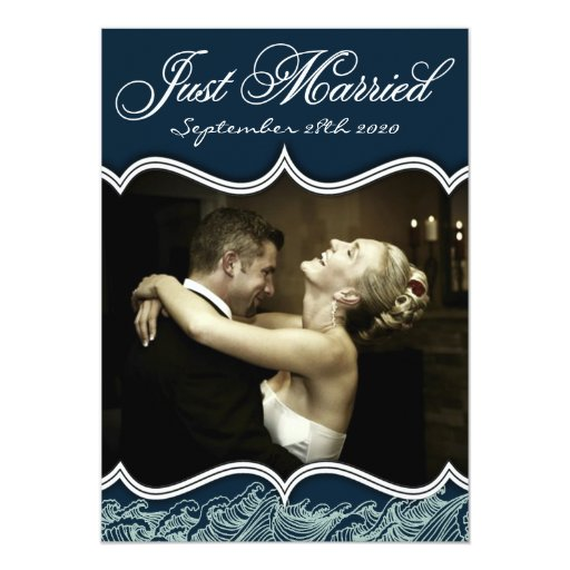 Navy Just Married Nautical Wedding Photo Cards