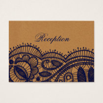 Navy Lace and Kraft Paper Wedding Business Card