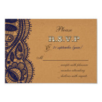 Navy Lace and Kraft Paper Wedding Card