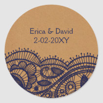 Navy Lace and Kraft Paper Wedding Classic Round Sticker