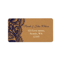 Navy Lace and Kraft Paper Wedding Label
