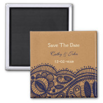 Navy Lace and Kraft Paper Wedding Magnet