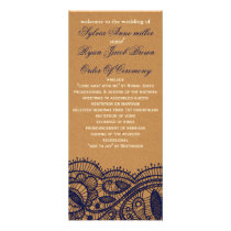 Navy Lace and Kraft Paper Wedding Rack Card