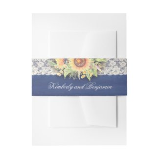 Navy Blue and Lace Rustic Sunflower Wedding Invitation Belly Bands