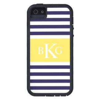 Navy Lemon Yellow Stripes Monogram Case For iPhone SE/5/5s