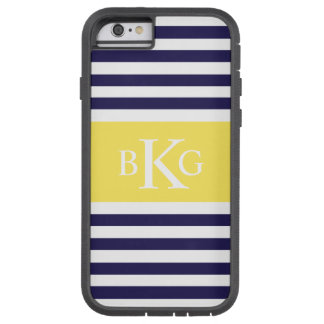 Navy Lemon Yellow Stripes Monogram iPhone 6 Case