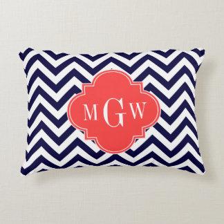 Navy Lg Chevron Coral Red Quatrefoil 3 Monogram Accent Pillow