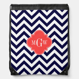 Navy Lg Chevron Coral Red Quatrefoil 3 Monogram Drawstring Bag