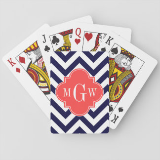 Navy Lg Chevron Coral Red Quatrefoil 3 Monogram Playing Cards