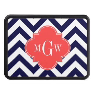 Navy Lg Chevron Coral Red Quatrefoil 3 Monogram Trailer Hitch Cover