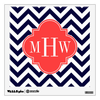 Navy Lg Chevron Coral Red Quatrefoil 3 Monogram Wall Decal