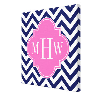 Navy Lg Chevron Hot Pink #2 Quatrefoil 3 Monogram Canvas Print