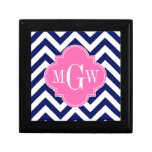 Navy Lg Chevron Hot Pink #2 Quatrefoil 3 Monogram Jewelry Box